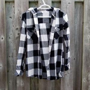 🌸 RIPZONE Hooded Plaid Button Down Shirt
